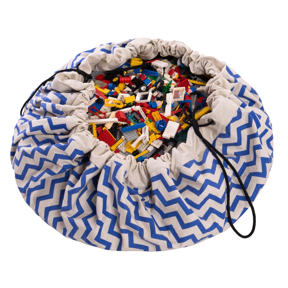 Play&Go 2in1 Toy Storage Bags & Playmat ZigZag blue