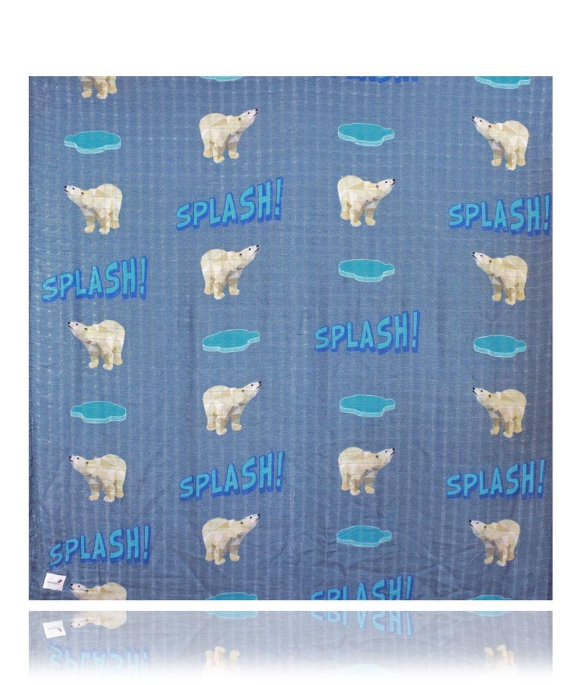 Swaddlies soft baby burp cloth Polar Bear - blue