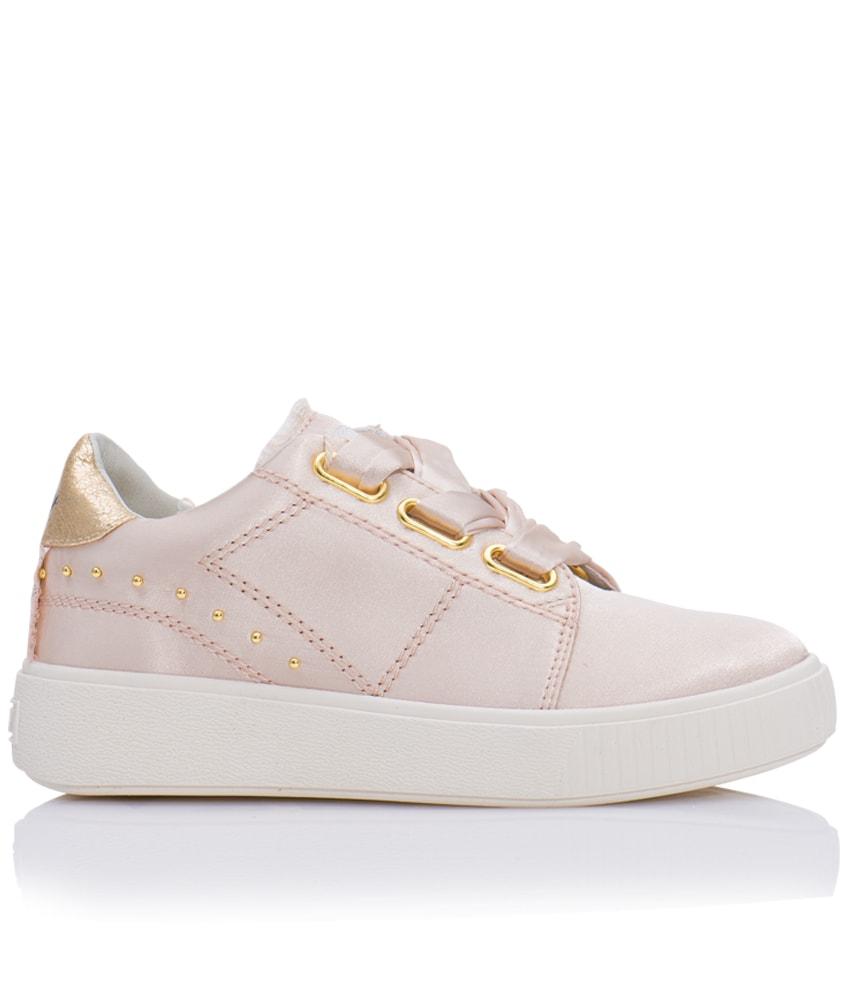 Replay Satin-Sneaker mit goldenen Details in puderrosa