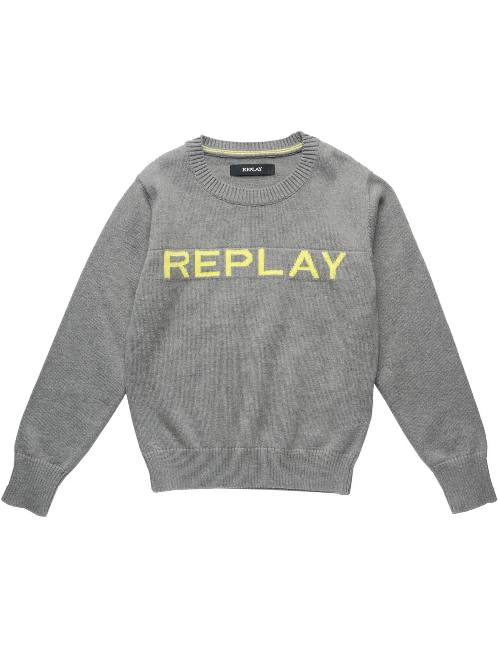 Replay logo knitted sweater - grey