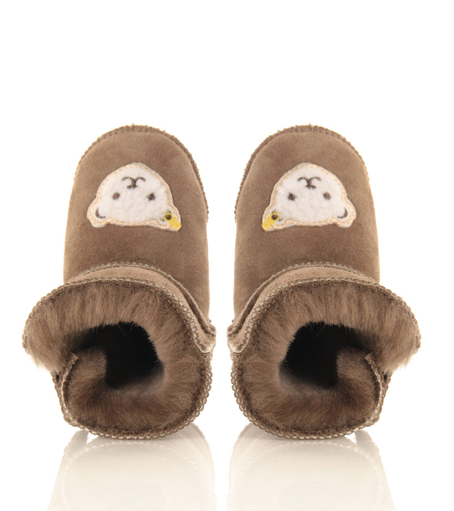 Steiff baby slippers Sienna with lambs fur in taupe