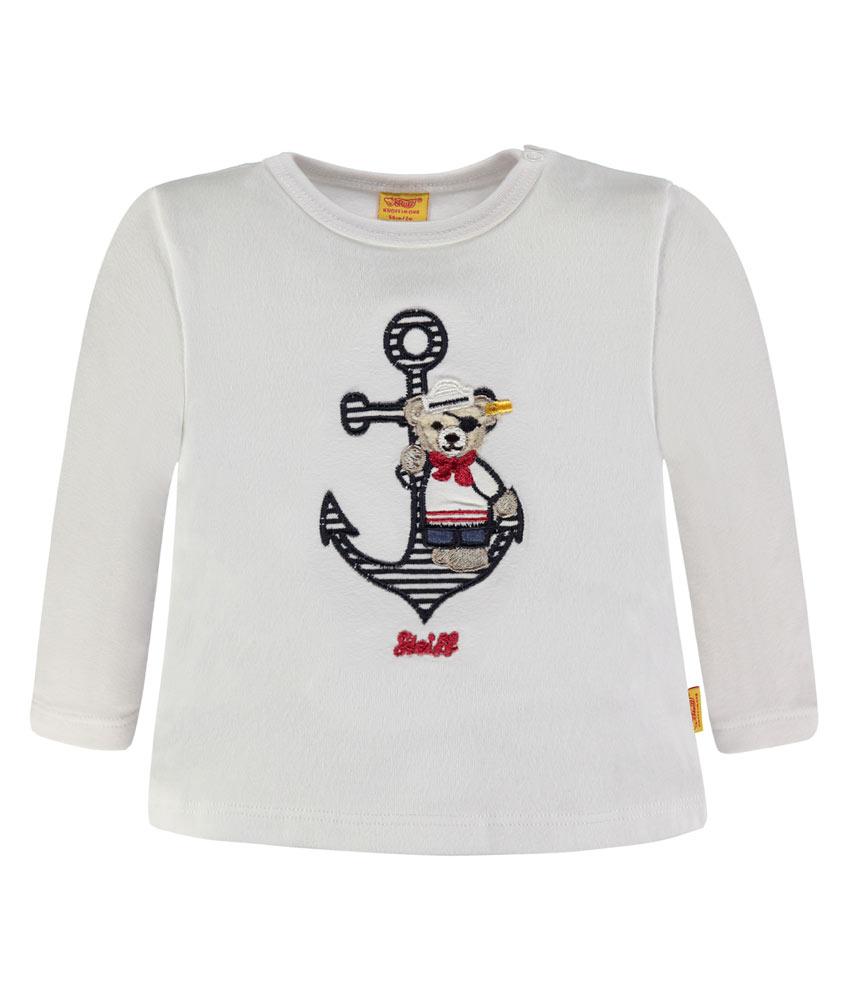 Steiff Langarmshirt mit Anker-Stickerei in weiss