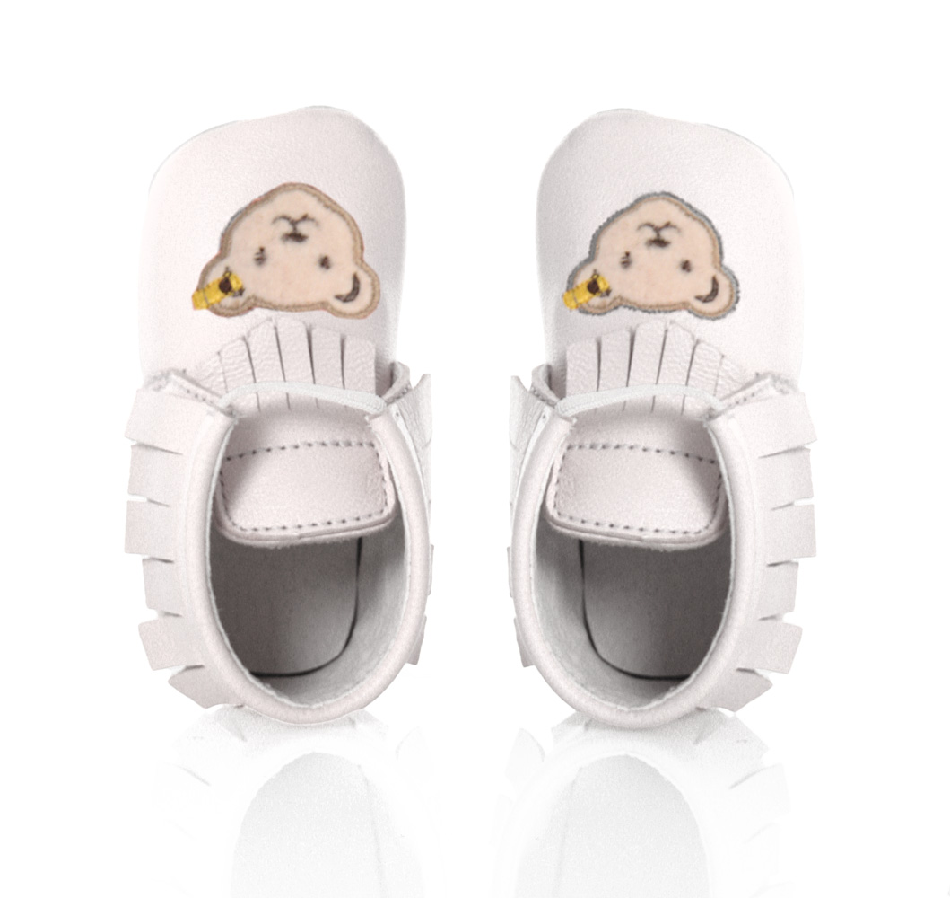 Steiff baby shoes Nooah of leather in white
