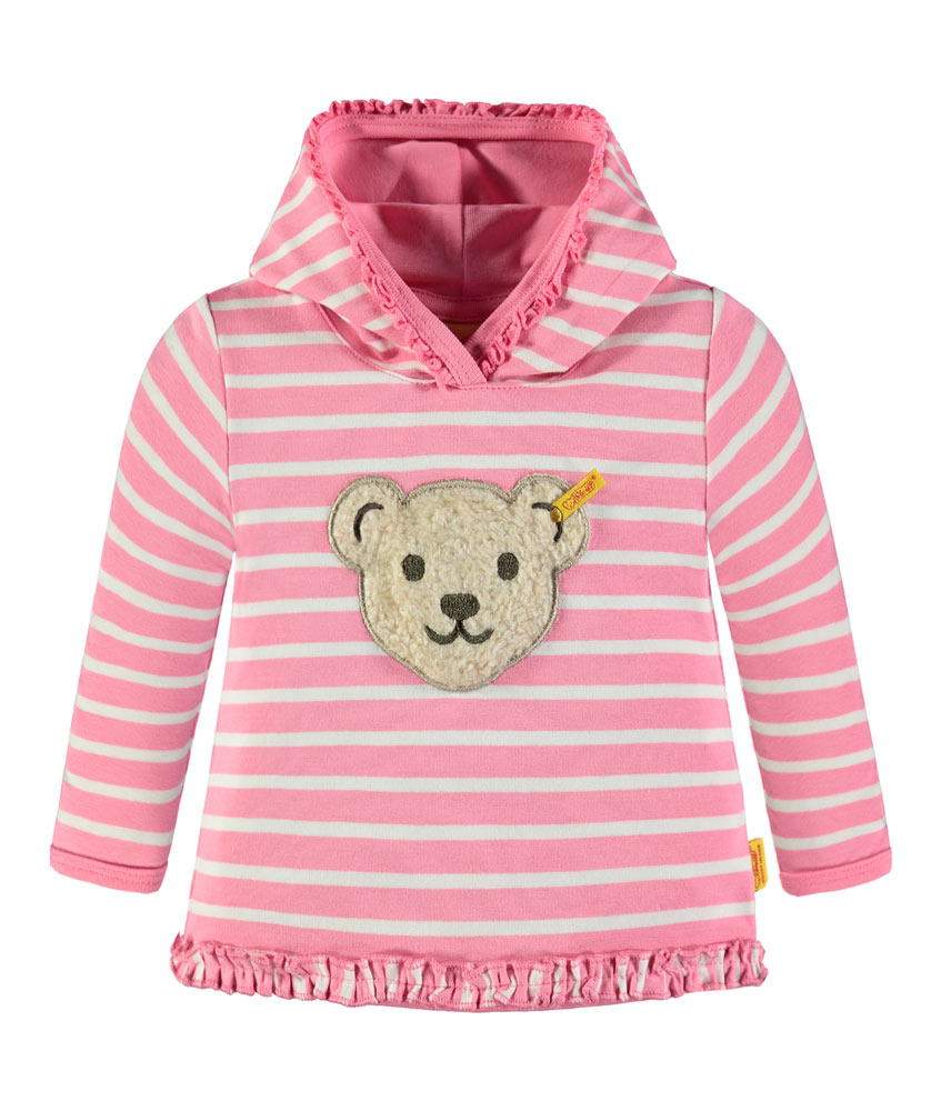 Steiff Kapuzen-Sweatshirt mit Geräusch in pink-weiss
