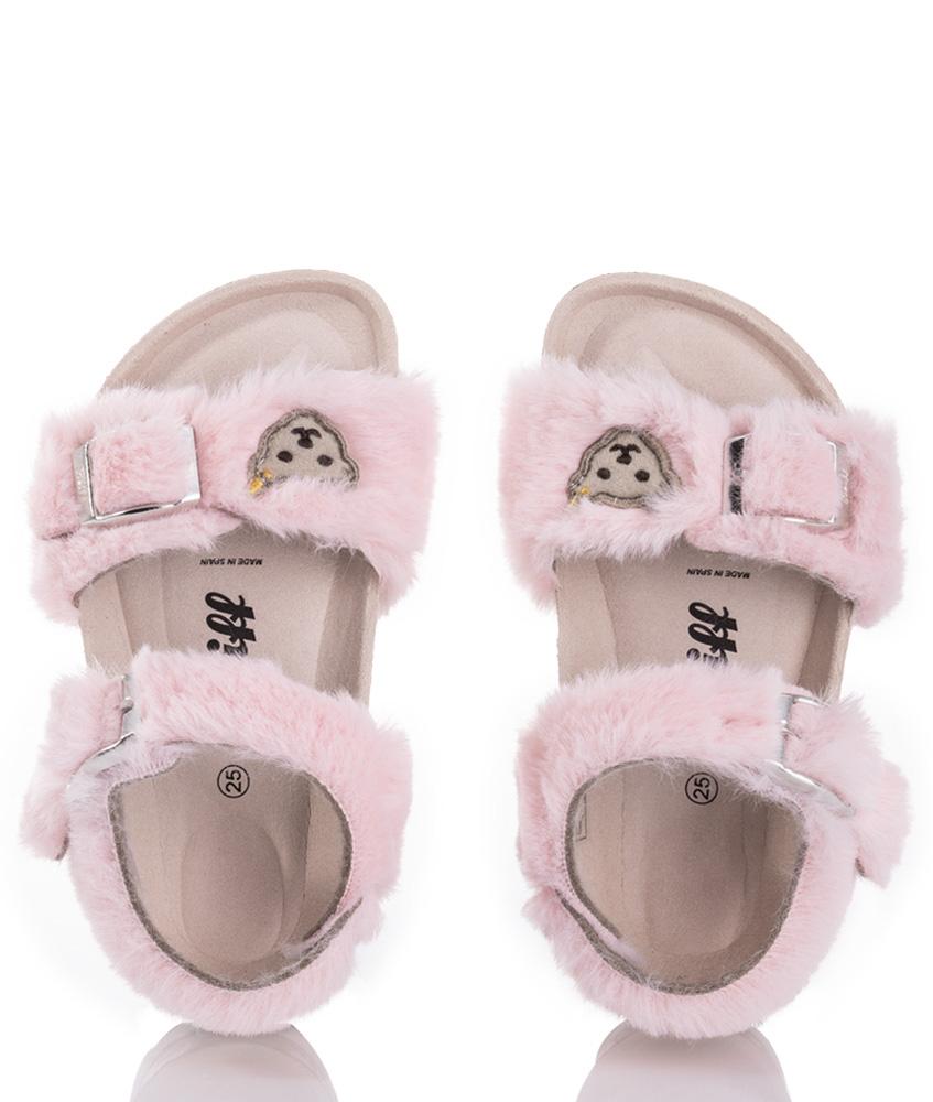 Steiff fake fur sandals Thelmaa - pink