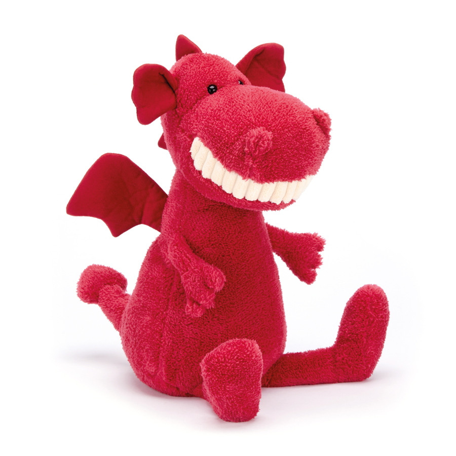 Jellycat Toothy Dragon in rot