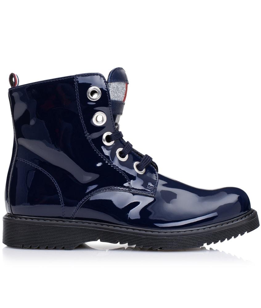 Tommy Hilfiger Lack Boots aus Leder in dunkelblau