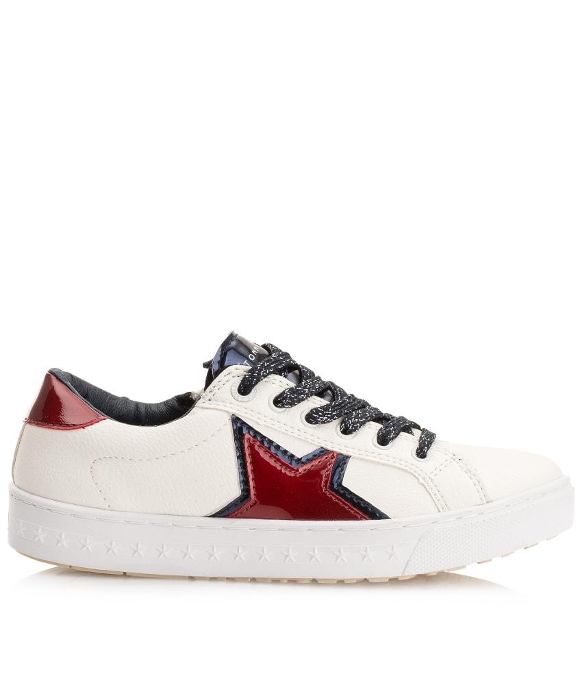 Tommy Hilfiger Leder-Sneaker mit Stern in weiß