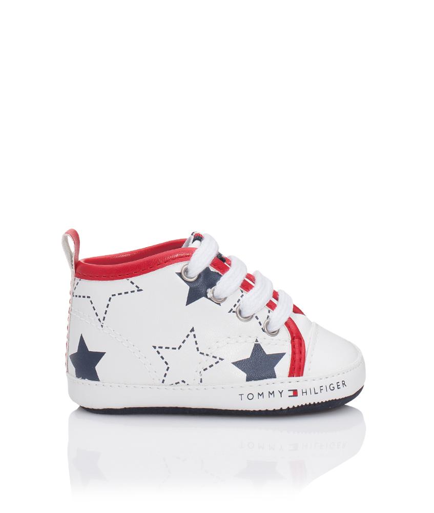 Tommy Hilfiger Baby-Sneaker aus Leder mit Sternen-Print in weiss