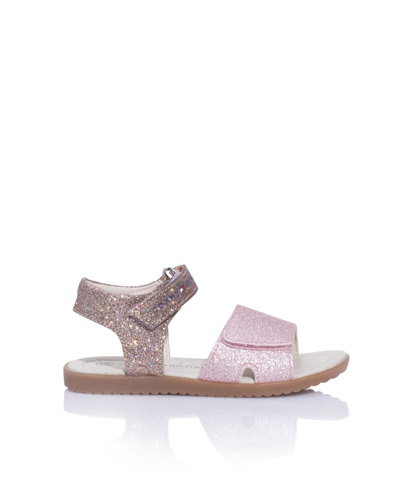 Tommy Hilfiger Leder-Sandalen mit Glitzer im Metallik-Look in rosa