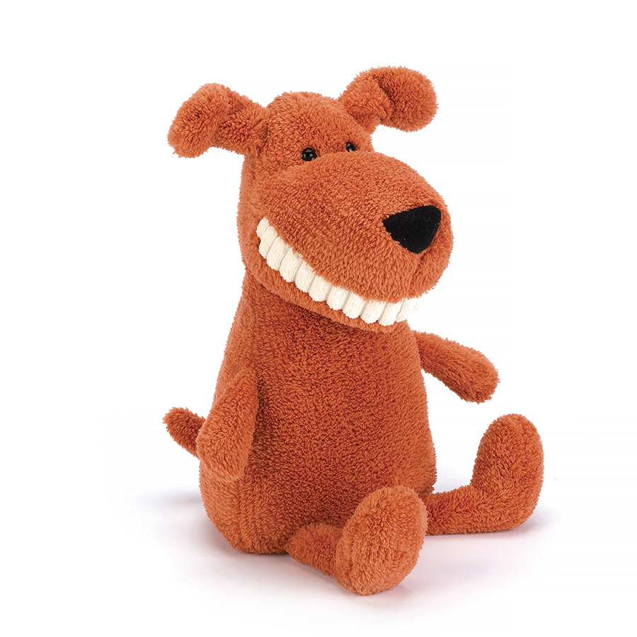Jellycat Toothy Mutt dog in orange