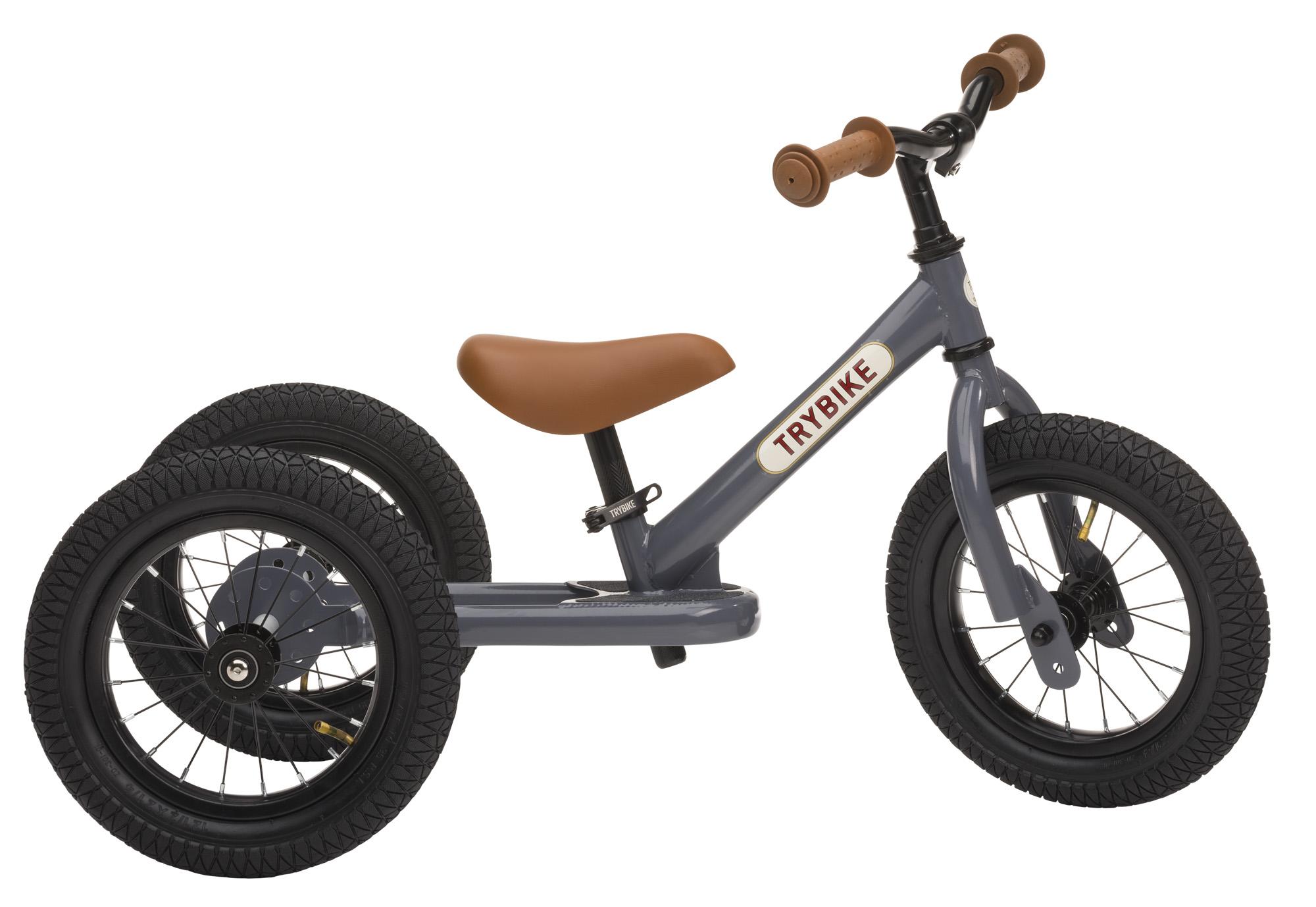 TRYBIKE steel 2 in 1 balance bike - grey/brown