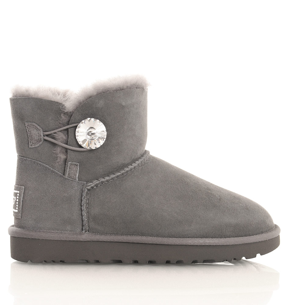 UGG Damen Mini Bailey Button Bling in grau