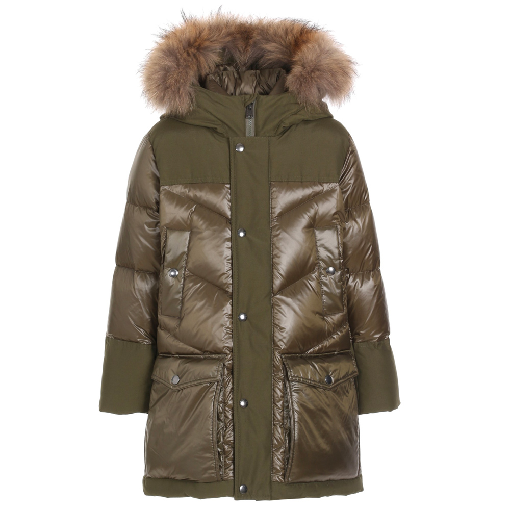 Woolrich Logo Arctic Parka DF with real fur and material mix - olive
