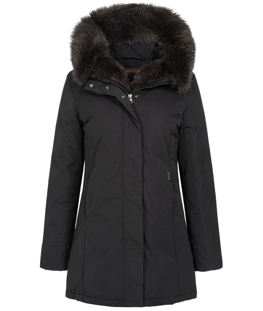 Woolrich Luxury Boulder Fox Parka mit Echtfell in schwarz