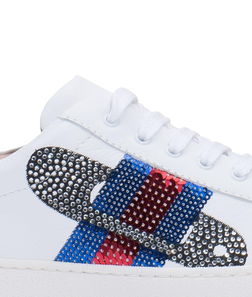 12a6d2eca590fa Florens Leder-Sneakers mit Stickerei aus Strass in weiss